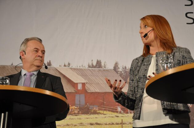 Debatt. Landsbygdsministern Sven Erik Bucht (S) och Annie Lööf (C) under debatten.