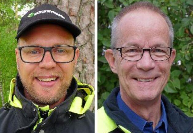 Jerker Bergdahl, distriktschef för Skogsstyrelsen i Kronobergs län, och föregångaren Hasse Bengtsson.