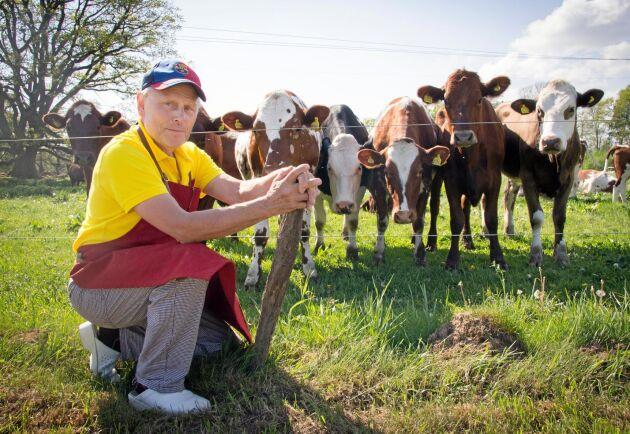 Mjölken till glassen hämtar Per Brunberg direkt från gårdens Krav-kor.