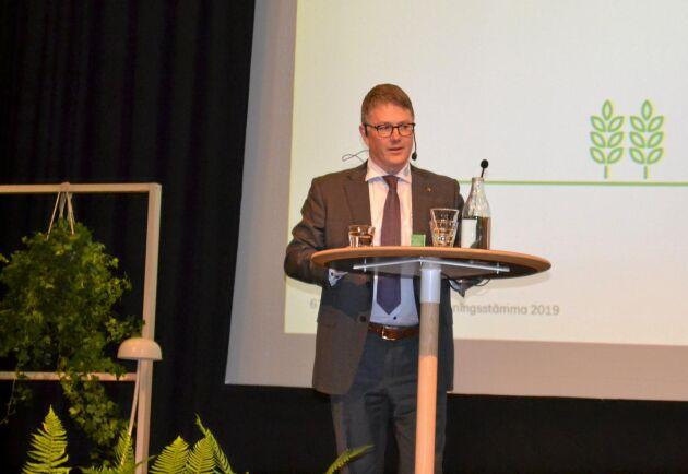 Per Olof Nyman, vd för Lantmännen, under föreningsstämman 2019.