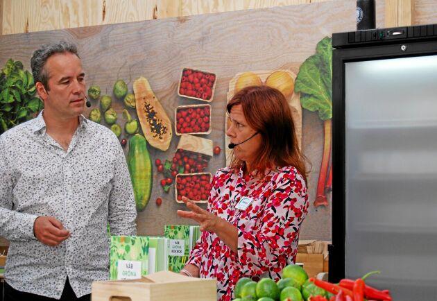 Kaj Török från hamburgerkedjan Max och Anneli Bylund, senior hållbarhetsstrateg på Coop, diskuterar vegetarisk mat.