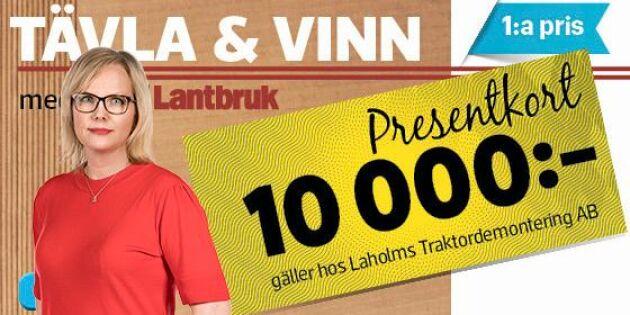Tävla och vinn presentkort värt 10 000 kronor!