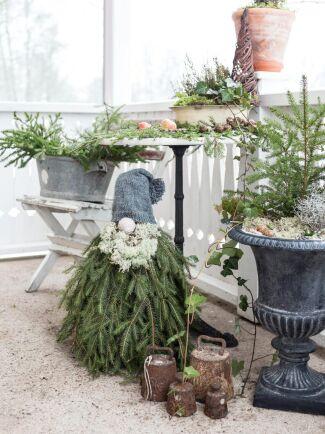 Gården är smyckad till jul med egentillverkad granristomte och stilleben med granris och äpple.