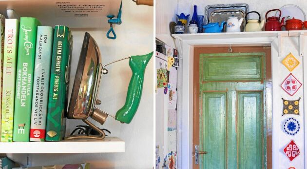 """Fina inredningsidéer, som att ha ett gammalt strykjärn som bokstöd och färgglada """"skrytlappar"""", som väggprydnader."""