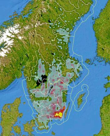 Kartan visar var koncentrationerna av avverkningsanmälningar 2018-2019 som kopplas till angrepp av granbarkborre är som störst. Gult visar de högsta koncentrationerna.