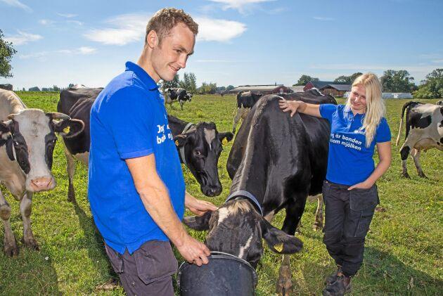 Lars Andersson har ägnat den största delen av sin vuxna tid till elitidrott och har ingen lantbruksutbildning. Lantbruksutbildade Sofia Nilsson, nyanställd på gården.