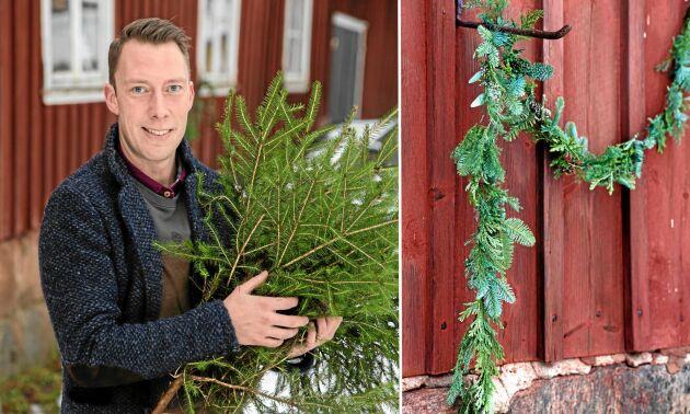 Morgan Persson driver sin blomster- och inredningsbutik Blomsterfrid i den lilla byn Fridhemsberg i Hallands inland. Han hämtar mycket material och inspiration i skogarna runt omkring.