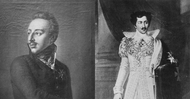 Kung Gustav IV Adolf. 1778-1837 och Kung Oscar I. 1799-1859, två kungar som har haft Haga som bostad.