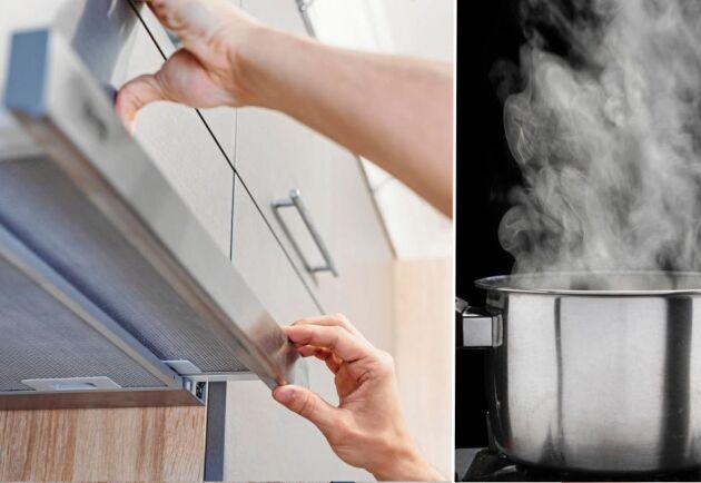 Har du en gryta hett vatten saknas bara en ingrediens för att rengöra fläktfiltret.