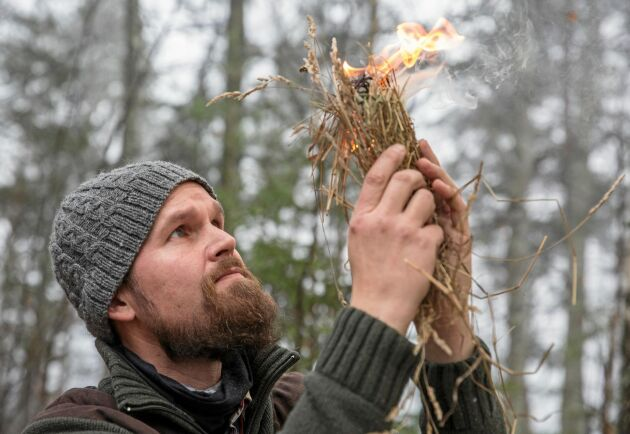 I bushcraft är det kunskaper som står i centrum, inte prylar. Experten Jonas Landolsi blåser fram lågor ur den framkallade glöden.