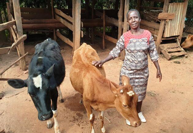 """Efter lite teknikstrul dyker Consolata Chikombe upp på skärmen med ett brett leende: """"Welcome to my farm!"""""""