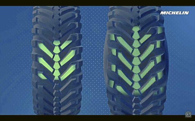 Från väg- till fältkörning går det att minska trycket så att däcket motsvarar ett 850-brett däck.