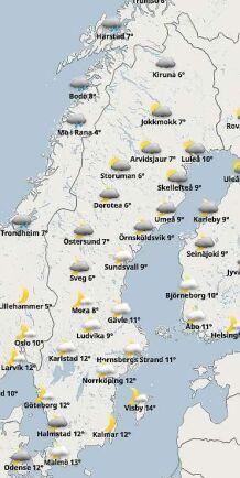 Väderkartan på midsommarafton 2018 klockan 18 enligt prognosen från SMHI.