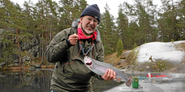 Äntligen pimpla regnbåge! Följ med på spännande isfiske!