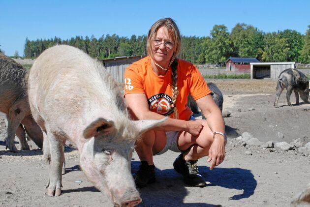 Torkan har tvingat Anna Hane på Resta gård i Örsundsbro tvingats till ett drastiskt beslut. Nu skänker man bort 68 grisar, motsvarande ett värde på 1,2 miljoner kronor
