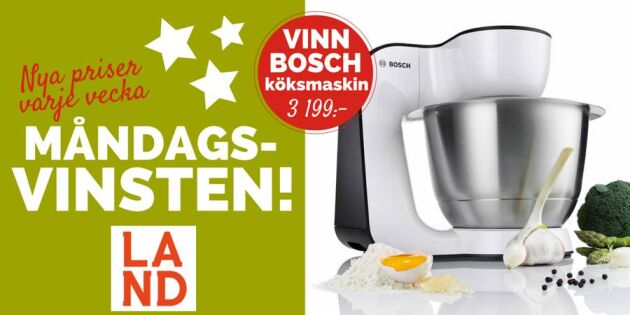 Måndagsvinsten: Tävla om en köksmaskin från Bosch värd 3 199:-