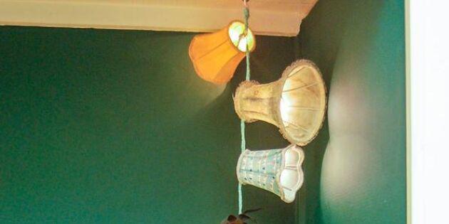 Häng lampskärmar på ljusslingan