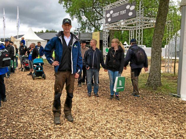 Mässansvarige Jakob Hirsmark var nöjd med mycket på årets skogsmässa, även om regnet innebar mycket merarbete.
