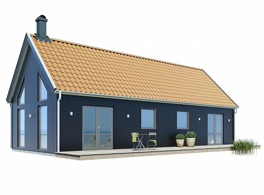Enkel form som passar in överallt. Altan ger extra utrymme. Foto: Värsåsvillan.