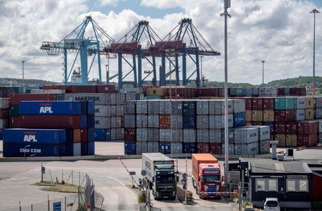 Containerhamnen i Göteborg.