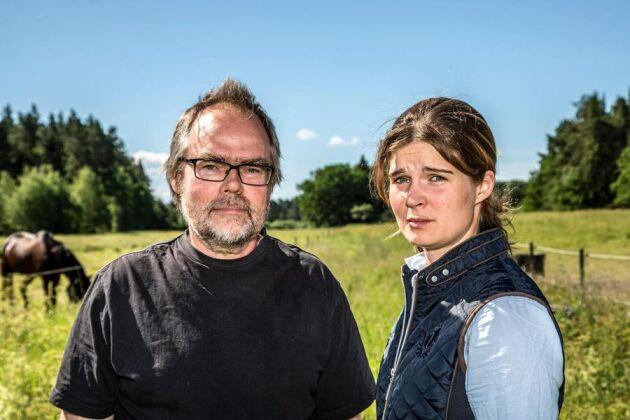 """""""Det är jättejobbigt att någon annan handlar med vår mark och fruktansvärt att leva med den här ovissheten"""", säger Leif Nyberg, här med dottern Louise."""