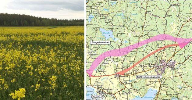 När nya E22 mellan Jämjö och Lösen ska byggas kommer 20 hektar odlingsmark försvinna. Lantrbukare i trakten lämnade in ett förslag på alternativ vägsträckning - men det nobbar Trafikverket.