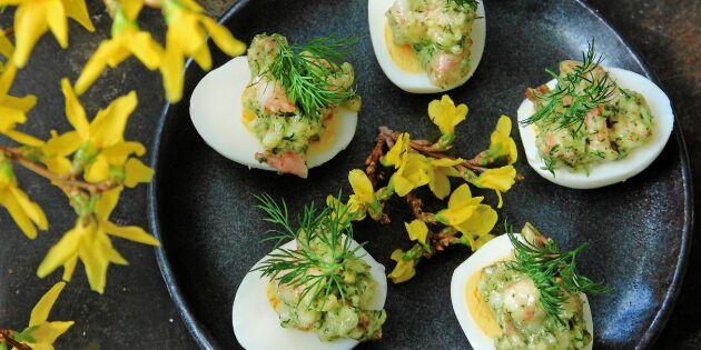 Ägghalvor med krämiga räkor och dill