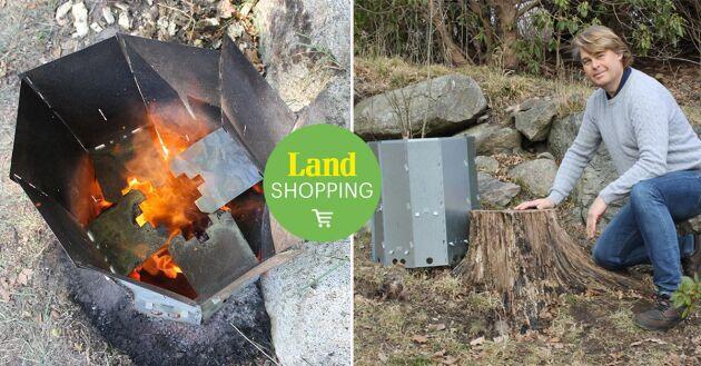 Den svensktillverkade Stubbskorsten är lätt och säker att använda och kan användas till många stubbar. Jörgen utvecklade produkten för att lösa sitt eget stubbproblem.