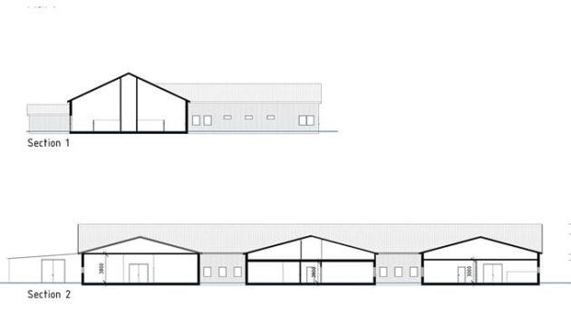 Ritningen är ett förslag på ombyggnaden. Går allt som det ska är det nya stallet färdigt i slutet av nästa år.