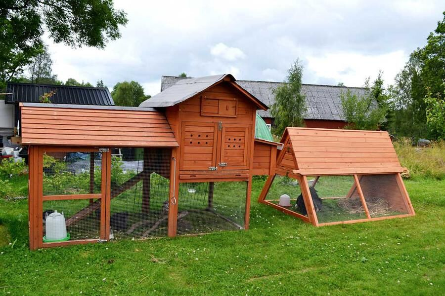 Förutom lekstuga med tillhörande hönsgård har vi två mindre hönshus med små gårdar för kycklingarna.