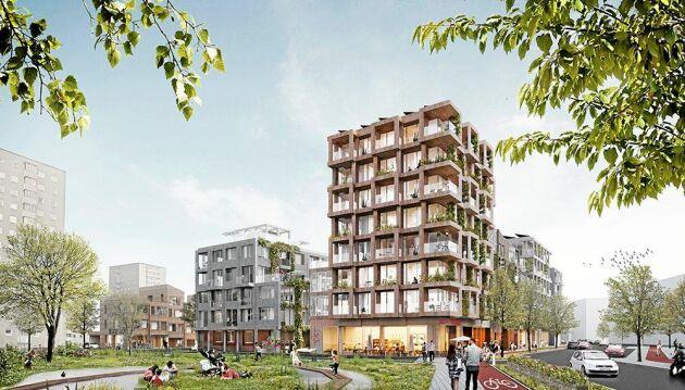 Nästan 200 lägenheter i trähus vill White bygga på Årstafältet.