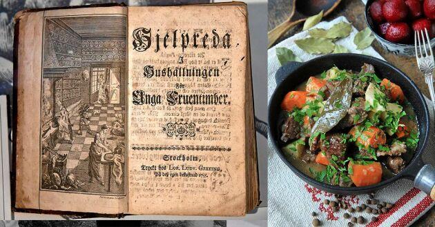 Cajsa Wargs berömda kokbok från 1755. Här beskrivs för fösta gången rätten kalops.
