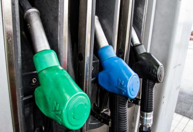 Priset på diesel är fem öre per liter dyrare än bensin.