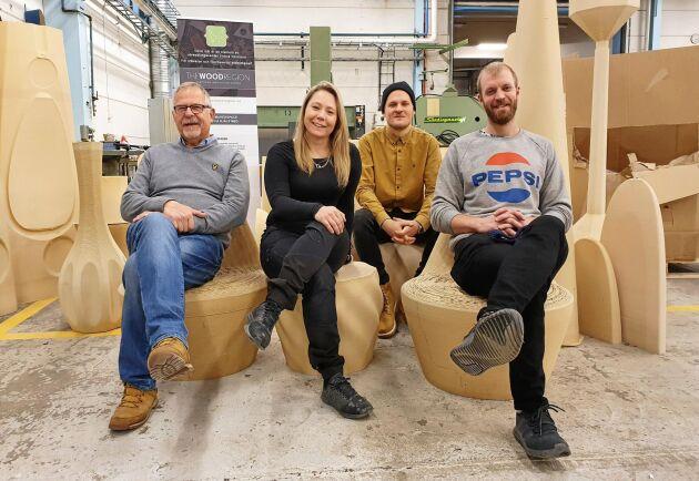 Personalen på The Wood Region, från vänster: Hans Nilsson, Malin Fleen, Alexsander Nordvall och Roger Andersson.
