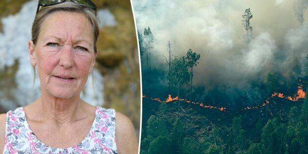 Så skyddar hon sin skog mot brand