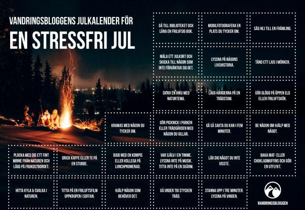 En stressfri julkalender! Ladda ner kalendern via länken längst ner i artikeln.