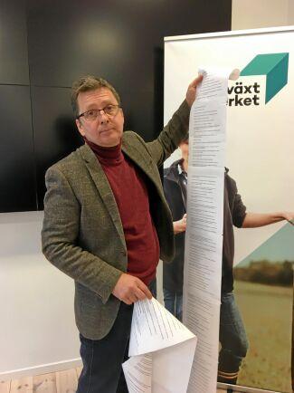 Anders Johannesson vid LRF har skrivit ut de branschregler som en svensk lantbrukare måste ta hänsyn till. Listan är tre meter lång.
