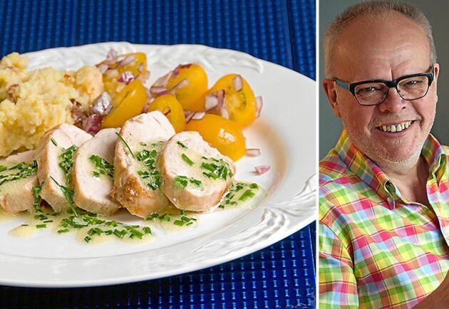 Till helgen tipsar Håkan Larsson om en ovanligt smakrik kalkonrätt med mos deluxe och ett glas fylligt vitt vin till.