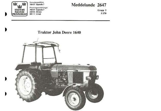 Amerikanska John Deeres traktorer återfinns i flera rapporter.