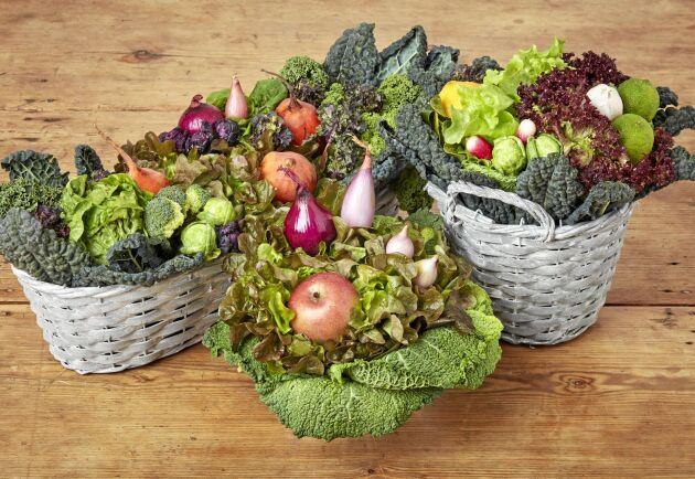 Fint av mat. Annika Unt visar hur man gör buketter av frukt och grönt.