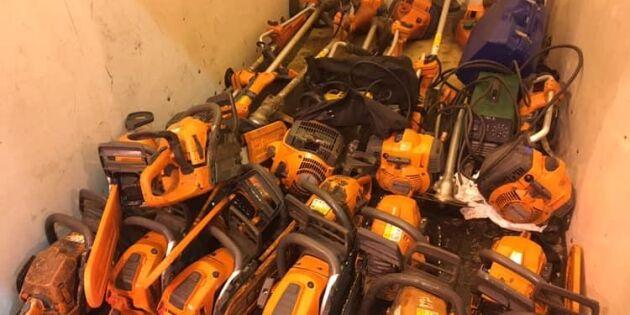 Stulna arbetsmaskiner upptäcktes av kustbevakningen