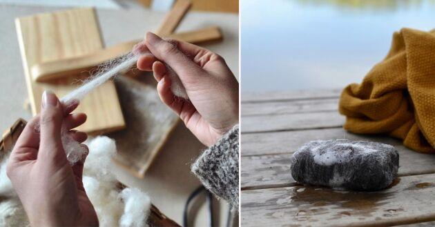 När tvålen är slut återstår en liten ullboll,ullen krymper i takt med att tvålen krymper.