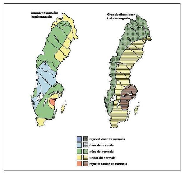 Grundvattennivåerna i små och stora magasin i november.