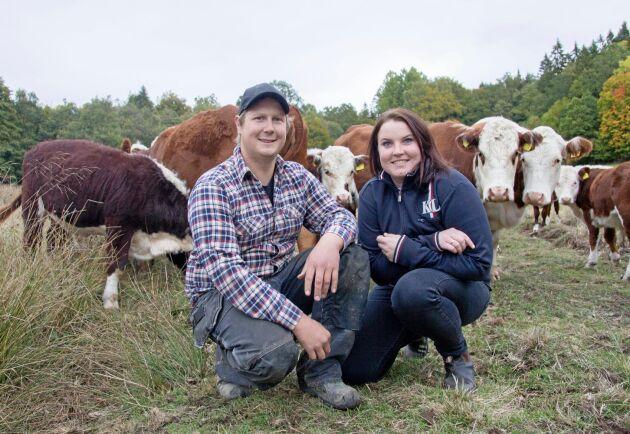 Robin Andersson och Pernilla Olsson har i dagsläget 25 dikor. På sikt hoppas de utöka till totalt 44 djur.