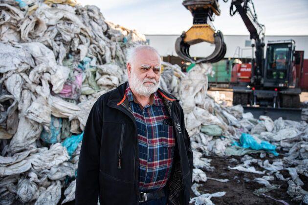 Ingemar Andersson är vd i Kretslopp - Recycling i Sverige, som samlar in 25 000 ton lantbruksplast i Sverige.