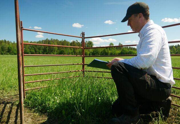 Han mäter och kontrollerar hur mycket gräset växer där djuren inte betar.