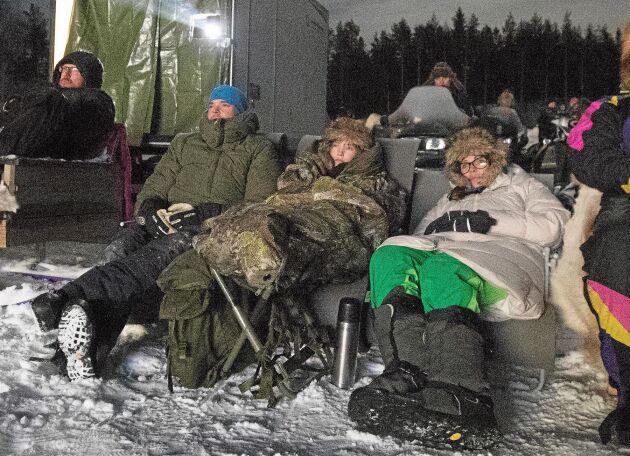 Niklas Berglund, Elsa Bodlund och Madelene Bodlund hade åkt åtta mil enkel väg med bil från Kalix för att vara med om den historiska filmhelgen.