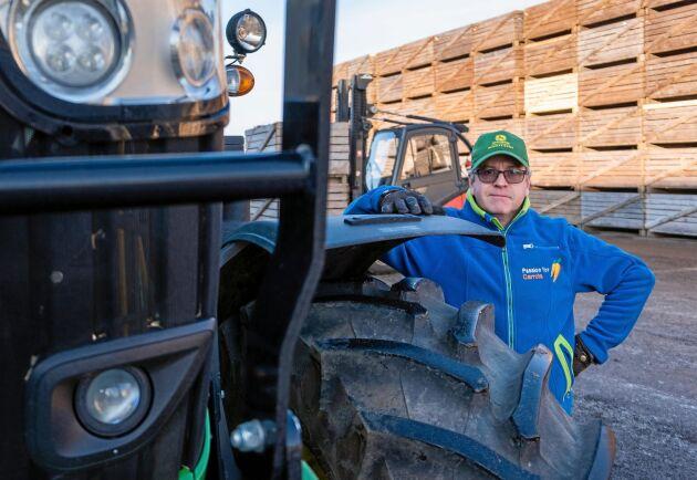"""Positiv. """"De går i olika typer av arbeten, men periodvis har vi intensiva transporter på längre sträckor"""", säger Pål Nilsson, VD på Nyskördade Morötter."""