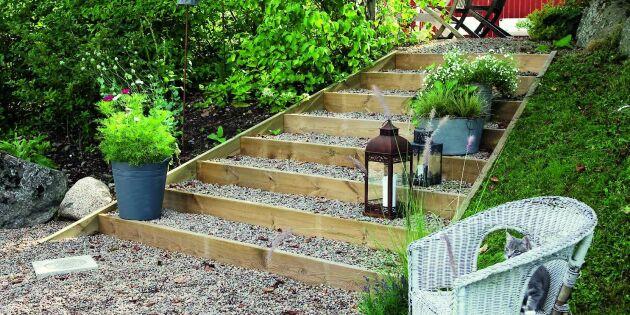 Lättsnickrat: Bygg en grusad trädgårdstrappa