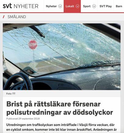 Fotot på den krossade vindrutan är en genrebild som TT använder för att illustrera nyheter om trafikolyckor. Foto: Skärmdump